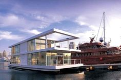 House Boat Design by X-Architects and Leen Vandaele 1 Floating Architecture, Modern Architecture, Houseboat Living, Floating House, Tiny House Movement, Boat Design, Water Crafts, Rustic Design, The Good Place