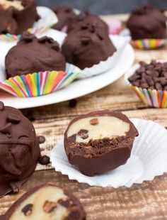 What does a combination of mocha brownies, egg-free cookie dough and dark chocolate make? Cookie Dough Brownie Truffles of course.