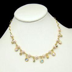 Mid Century Bezel Set Clear Crystals Faux Pearls Vintage Necklace Rhinestones Elegant
