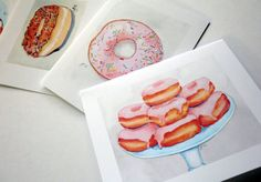 Donut Stationery Set  Donut Cards Watercolor Art by jojolarue, $16.00