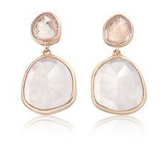 The Siren Medium Drop Earrings in #rosegold and #rosequartz