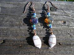 Otolith Earrings - Vermilion Rockfish, copper/beaded