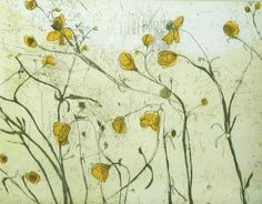 Etching print 'Buttercup' original, hand pulled etching and aquatint by Marta Wakula-Mac on Etsy, $135.50 AUD