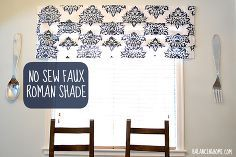 diy stenciled no sew faux roman shade, home decor, reupholster, window treatments, DIY Stenciled No Sew Faux Roman Shade