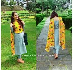 Phulkari dupatta with Grey overall