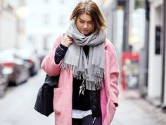 Top your puffer jacket with a fuzzy pink coat and chic scarf