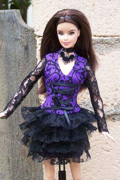 "OOAK ""Ominous"" gothic Halloween fashion for Fashionista Barbie. $27.00, via Etsy."