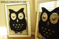 Vintage Windows with Owls! Use an old picture frame, trace picture behind it with sharpie and then paint with craft paint. Easy and cute!