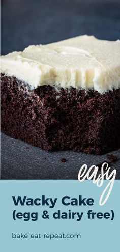 This chocolate wacky cake is super moist and so easy to make. It mixes up right in the pan, and it doesn't use any milk, eggs, or butter! Easy Cakes To Make, Desserts To Make, Delicious Desserts, Keto Desserts, Frosting Recipes, Cookie Recipes, Dessert Recipes, Yummy Recipes, Free Recipes