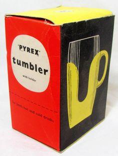 Fun and funky '60s boxed beaker... Retro Pyrex Tumbler 1960s Original Mid Century Vintage by keepsies, £15.00