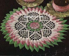 Free Vintage Crochet - Sunburst Rose Doily Pattern