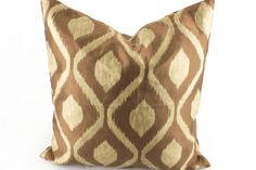Ikat Decorative throw pillow cover 18x18 Brown Gold Pillow, Silk Pillow, Accent Pillow for couch sofa