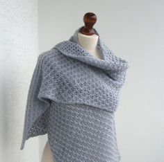 Light gray knitted shawl lacy shawl hand knitted by dekkoline, $85.00