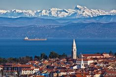Izola and the Adriatic Sea with Mt. Triglav and the snowy Julian Alps in the back – Slovenia