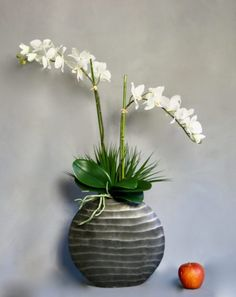 Artificial White Orchids in Ripples Oval Vase Orchid Arrangements, Artificial Flower Arrangements, Artificial Orchids, White Orchids, Vase, Home Improvement, Luxury, Handmade, Crafts