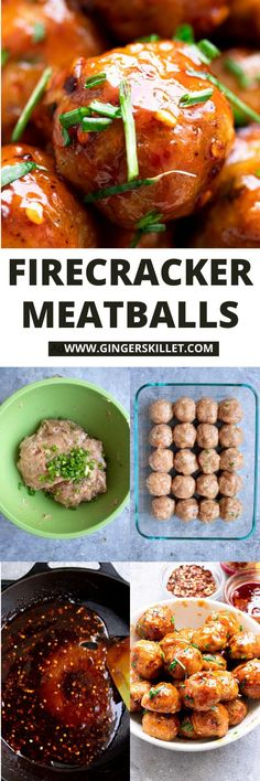 Spicy Chicken Meatballs aka Firecracker meatballs recipe with step-by-step instructions. These spicy and sweet twice-baked chicken meatballs are super easy to make and tastes delicious as an appetizer or in a meal! Baked Chicken Meatballs, Chicken Meatball Recipes, Lunch Recipes, Appetizer Recipes, Cooking Recipes, Firecracker Meatballs, High Protein Recipes, Healthy Recipes, Yummy Eats