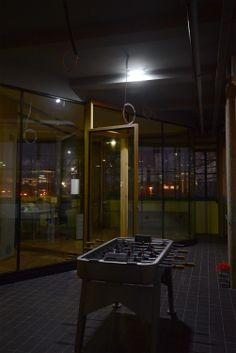 Netural in der Tabakfabrik Linz: der Wuzzeltisch kommt heute wohl nicht mehr zum Einsatz. Linz, Backdrops