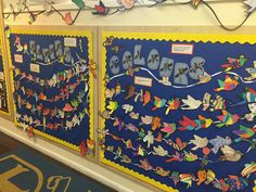 KS2 Years 3-6 collaborative bird installation in our school reception.