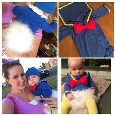 Donald Duck makes a perfect, easy to wear baby costume. I found a blue onsie, blue and red felt, yellow ribbon, white tights (dyed yellow), one feather boa and a blue hat.... Pin the boa to a diaper and the rest is pretty self explanatory.