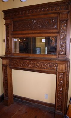 Antique Victorian Tiger Oak Fireplace Mantel With Beveled Mirror