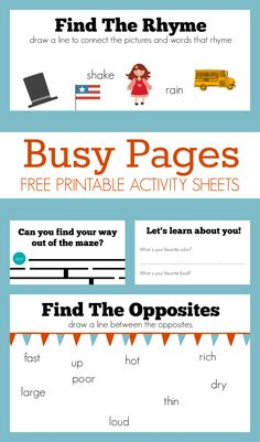 Busy Pages – Free Activity Sheets