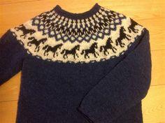 Islandsk sweater med springende heste. Læs mere på min profil på www.hendesverden.dk