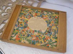 vintage french wooden board game Jeu de L'oie