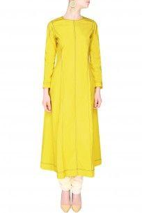 Yellow Pintucked Striped Pleated Kurta #shopnow #newcollection #contemporary #slohdesigns #happyshopping #kurta #clothing