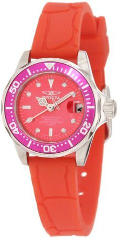 Invicta Women's 11562 Pro Diver Mini Red Dial Red Polyurethane Watch Invicta. $74.00. Magnified date window at 3:00. Water-resistant to 200 m (660 feet). Mineral crystal; brushed and polished stainless steel case; red polyurethane strap. Japanese quartz movement. Red dial with silver tone hands and hour markers; luminous; unidirectional stainless steel bezel with purple ring
