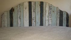California King pallet wood headboard - distressed paint finish in Del Mar color scheme
