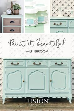 Brook is a beautiful color from the Fusion Mineral Paint Michael Penney collection. Dip your toes into this refreshing watery blue-green. Rattan Furniture, Refurbished Furniture, Paint Furniture, Furniture Makeover, Furniture Refinishing, Furniture Design, Furniture Online, Plywood Furniture, Upcycled Furniture