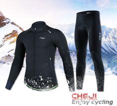 Buy CHEJI Fleece Winter Males Biking Jersey Set Black MTB Street Bike  Lengthy Pants Thermal Bicycle Jacket de ciclismo de invierno d897104b7