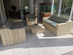 Pallet Furniture, Outdoor Furniture Sets, Outdoor Decor, Wood Creations, Wood Pallets, Patio, Couches, Creative, Tables