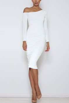 White Sexy One Shoulder Pleated Midi Bodycon Dress - US$15.95 -YOINS