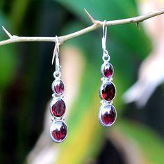 Red Tourmaline Sterling silver Dangle earring