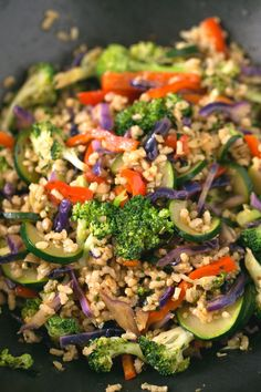 Brown Rice Stir-Fry with Vegetables - I make this brown rice stir-fry with vegetables every week. This recipe is life-changing and so simple. Add your favorite veggies or what's in season.