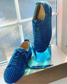 5c6dc2fc3 Extra Off Coupon So Cheap christian louboutin men s Spiked blue suede shoes  44