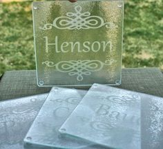 Personalized Bridesmaid Gifts Etch Glass Cutting by ScissorMill. $14.00, via Etsy.