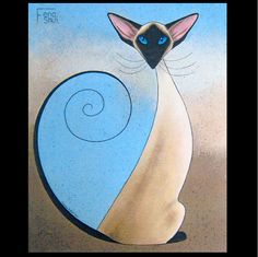 Large Feng Shui Siamese Cat Art Painting Print From Original By Suzanne Le Good Crazy Cat Lady, Crazy Cats, Siamese Cats, Cats And Kittens, Oriental Shorthair Cats, Cat Tat, Cat Art Print, Cat Whiskers, Silhouette