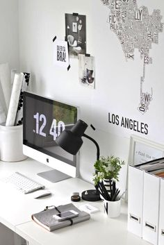 home inspiration: BLACK & WHITE WORK SPACES, wall stencils of cities
