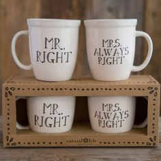 Start the morning off with a giggle with these witty 'Mr. Right' and 'Mrs. Always Right' mugs.