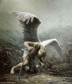 "rexisky: "" Artwork by Tomasz Alen Kopera, Animation by George RedHawk "" Dark Fantasy Art, Fantasy Artwork, Dark Art, Fantasy Images, Art Visionnaire, Wild Is The Wind, Angel Falls, Ange Demon, Animation"