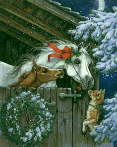 Horse Christmas card painting. Mare, foal, dog wreath, and snow. Tierbild.