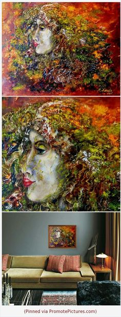 Surrealism painting fantasy wall art, Abstract surreal art Girl surreal portrait face oil on canvas painting in shop on Etsy: http://artbuyonline.etsy.com #surrealism #painting #abstract #oil #art #etsy https://www.etsy.com/ArtBuyOnline/listing/501930620/fantasy-painting-surreal-oil-wall-art?ref=shop_home_active_2