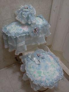 Juego De Acolchado De Normal Para Baño Celeste Con Rosado