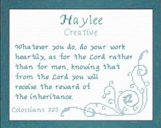 Haylee - Name Blessings Personalized Cross Stitch Design from Joyful Expressions Family Crafts, Gifts For Family, Miss Kelly, Art Supply Stores, Names With Meaning, Cross Stitch Designs, Custom Framing, Wall Murals, Bible Verses