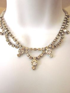 Vintage Rhinestone Necklace Formal Jewelry by JeepersKeepers, $34.00