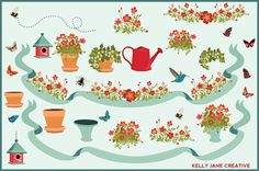 Flower garden Bumble Bees, Hummingbird, Butterflies, Birdhouse & Potted Plants Clip Art for making some lovely summer designs, decorating your blog https://www.etsy.com/listing/175168503