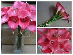 Real Touch Hot Pink / fucsia Giglio di Calla deriva per mazzi di seta Wedding…