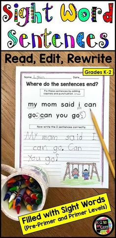 Provide your beginning/emergent readers and writers in kindergarten, first, or second grade with capitalization and punctuation practice, as well as lots of work with sight words. All Pre-Primer and Primer sight words are used, most three times or more. Each editing and writing practice page has 2 sentences with missing capitals and punctuation. Your students' job is to figure out where the sentences end, edit the sentences, and then rewrite them correctly. Click for more details!